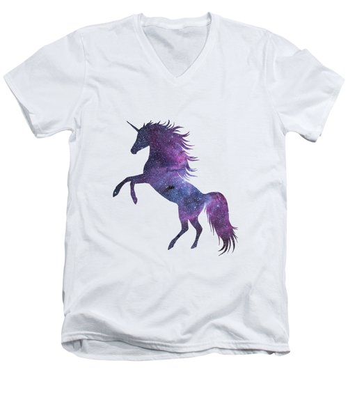 Unicorn In Space-transparent Background Men's V-Neck T-Shirt by Jacob Kuch