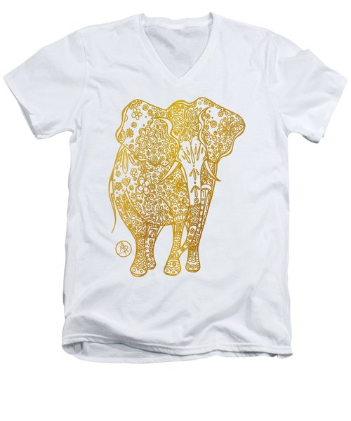 Unique Golden Elephant Art Drawing By Megan Duncanson Men's V-Neck T-Shirt by Megan Duncanson