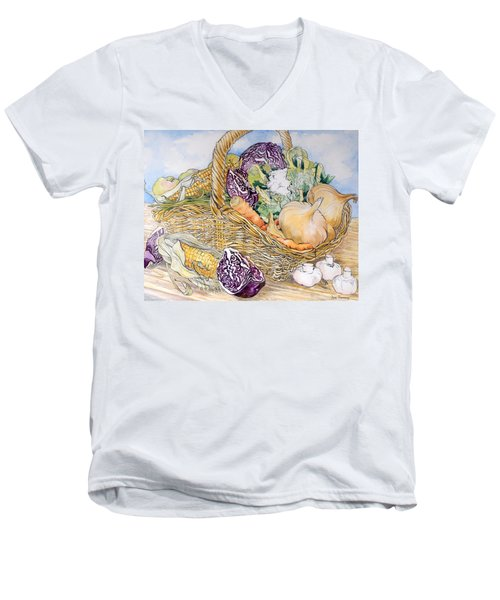 Vegetables In A Basket Men's V-Neck T-Shirt by Joan Thewsey