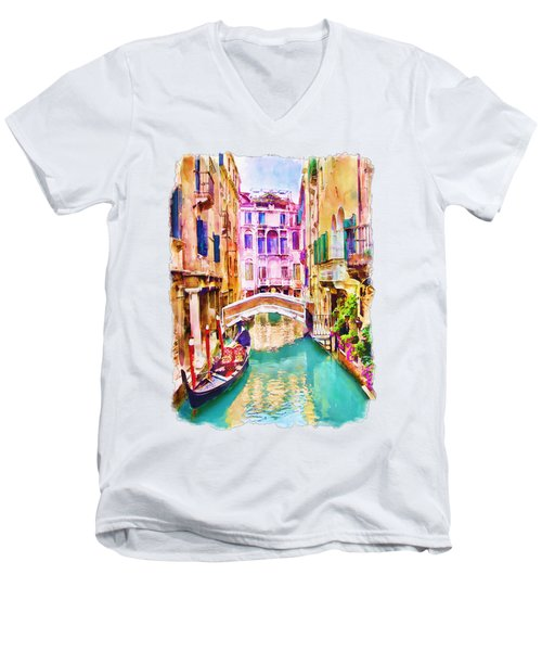 Venice Canal 2 Men's V-Neck T-Shirt by Marian Voicu