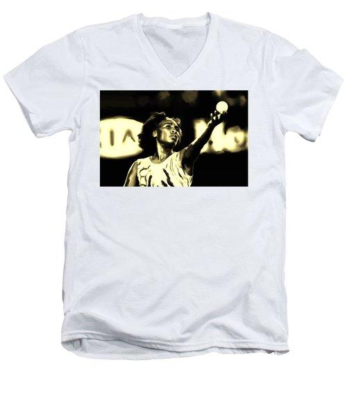 Venus Williams Match Point Men's V-Neck T-Shirt by Brian Reaves