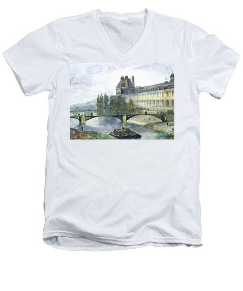 View Of The Pavillon De Flore Of The Louvre Men's V-Neck T-Shirt by Francois-Marius Granet