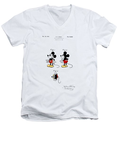 Vintage 1930 Mickey Mouse Patent Men's V-Neck T-Shirt by Bill Cannon