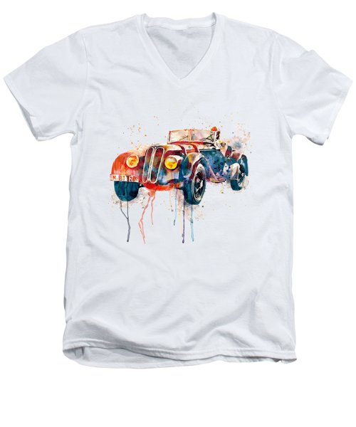 Vintage Bmw Watercolor Men's V-Neck T-Shirt by Marian Voicu
