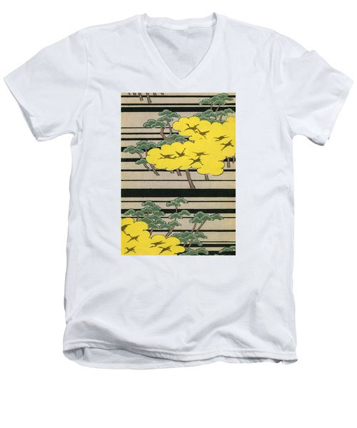 Vintage Japanese Illustration Of An Abstract Forest Landscape With Flying Cranes Men's V-Neck T-Shirt by Japanese School