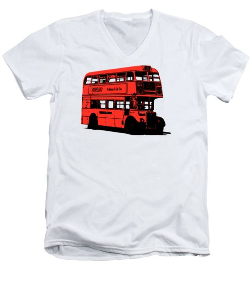 Vintage Red Double Decker London Bus Tee Men's V-Neck T-Shirt by Edward Fielding