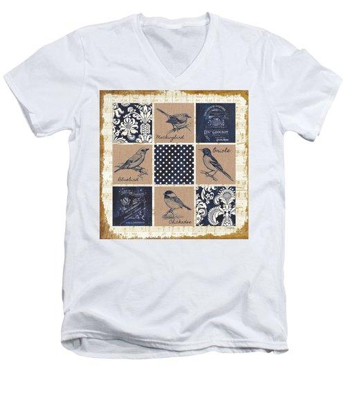 Vintage Songbird Patch 2 Men's V-Neck T-Shirt by Debbie DeWitt