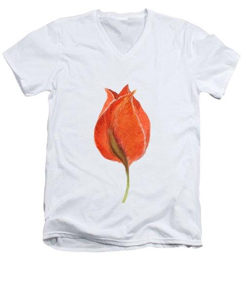 Vintage Tulip Watercolor Phone Case Men's V-Neck T-Shirt by Edward Fielding