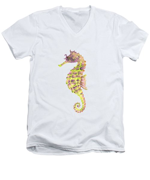 Violet Green Seahorse Men's V-Neck T-Shirt by Amy Kirkpatrick