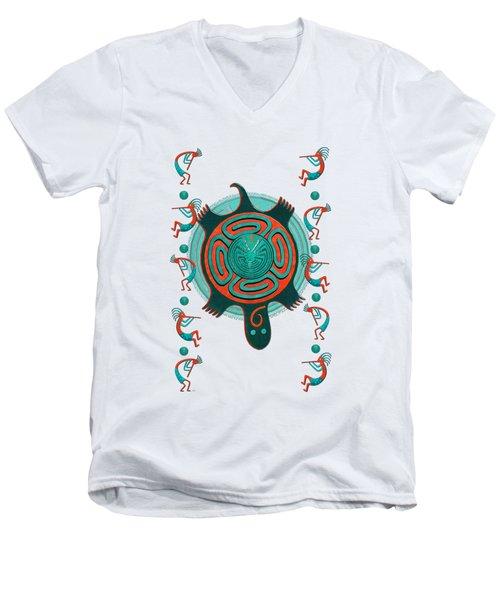 Visitors Anasazi 3d Folk Art Men's V-Neck T-Shirt by Sharon and Renee Lozen
