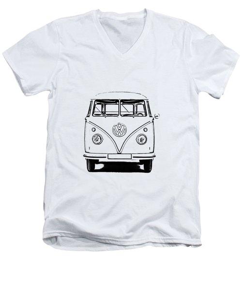 Vw Bus T-shirt Men's V-Neck T-Shirt by Edward Fielding