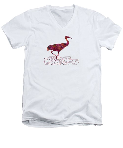 Colorful Sandhill Crane Silhouette Men's V-Neck T-Shirt by Shara Lee