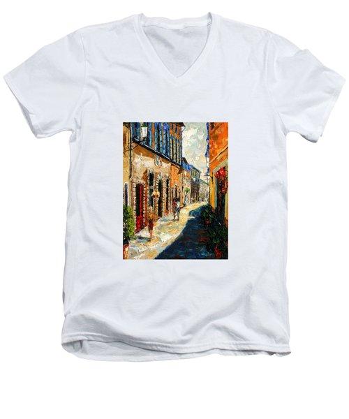 Warmth Of A Barcelona Street Men's V-Neck T-Shirt by Andre Dluhos