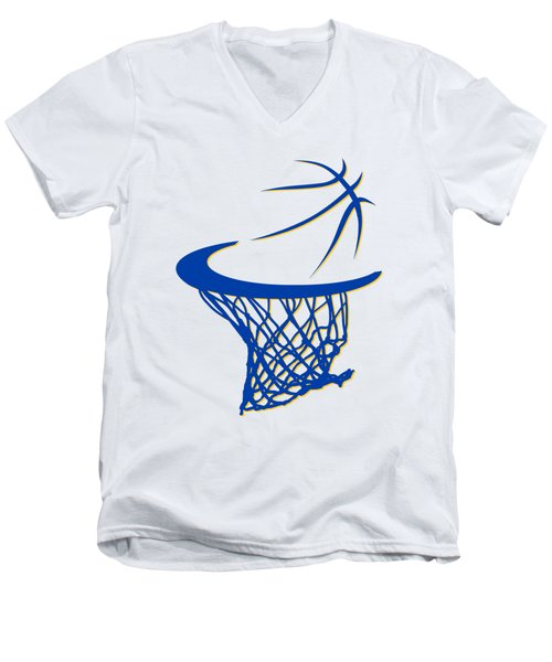 Warriors Basketball Hoop Men's V-Neck T-Shirt by Joe Hamilton