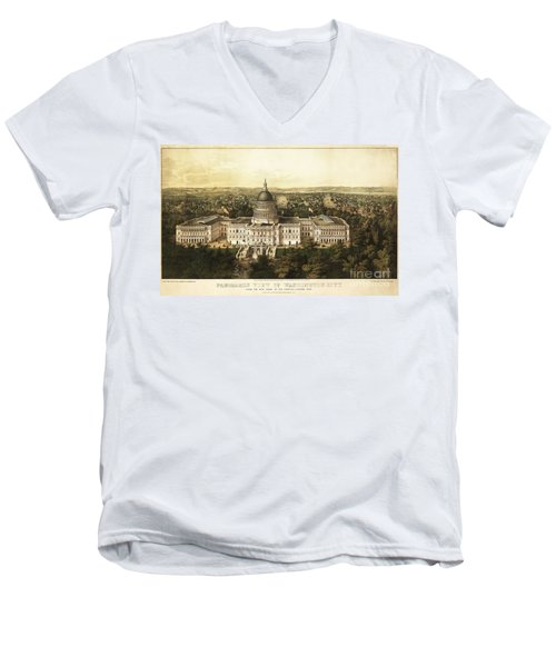 Washington City 1857 Men's V-Neck T-Shirt by Jon Neidert