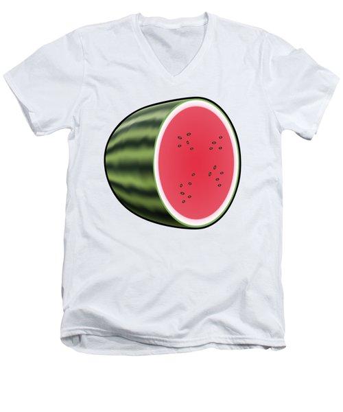 Water Melon Outlined Men's V-Neck T-Shirt by Miroslav Nemecek