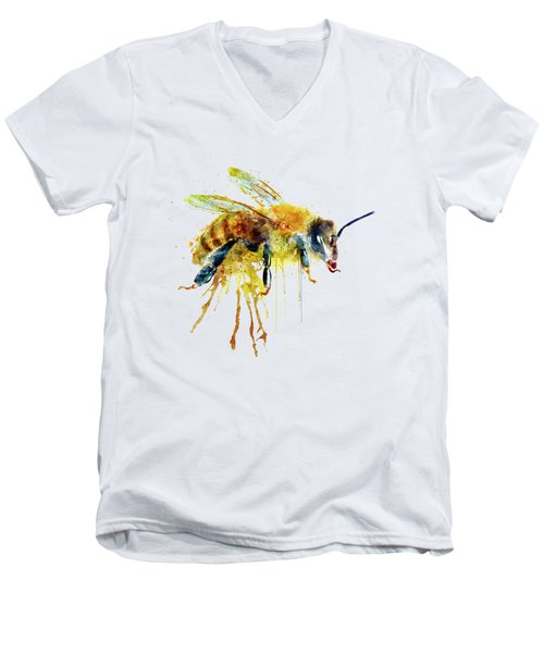 Watercolor Bee Men's V-Neck T-Shirt by Marian Voicu