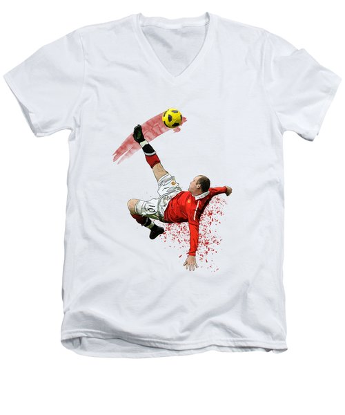 Wayne Rooney Men's V-Neck T-Shirt by Armaan Sandhu