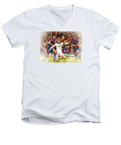 Wayne Rooney Shoots At Goal Men's V-Neck T-Shirt by Don Kuing