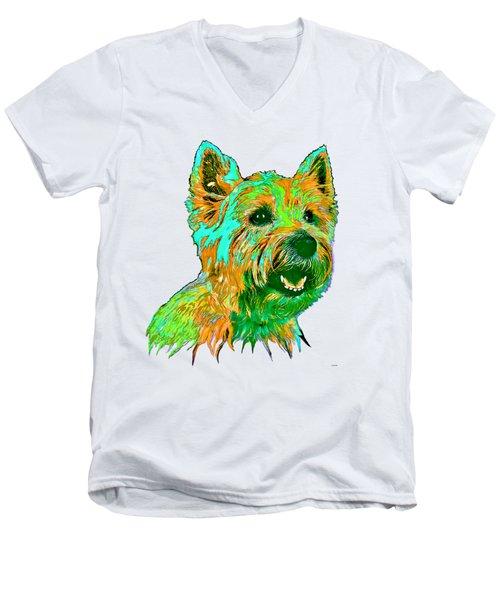 West Highland Terrier Men's V-Neck T-Shirt by Marlene Watson