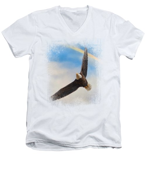 When My Wings Touch The Rainbow Men's V-Neck T-Shirt by Jai Johnson