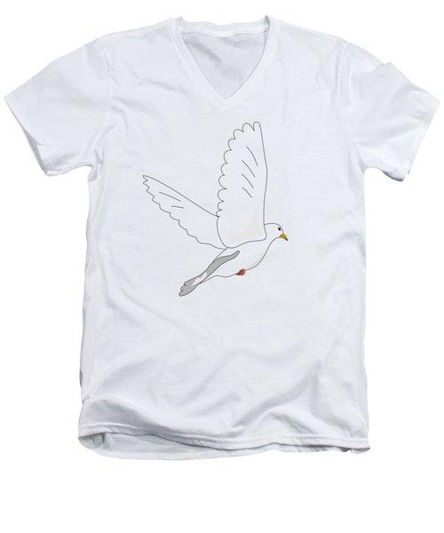 White Dove Men's V-Neck T-Shirt by Miroslav Nemecek