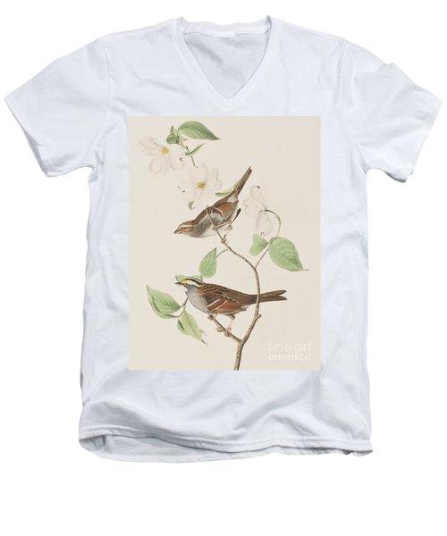 White Throated Sparrow Men's V-Neck T-Shirt by John James Audubon