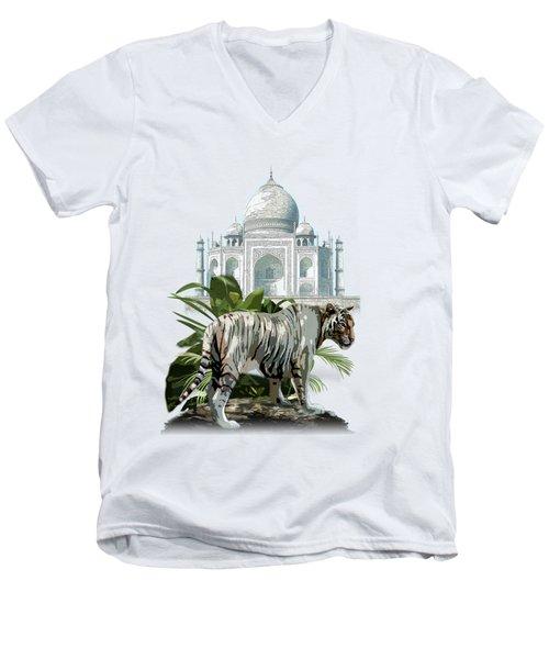 White Tiger And The Taj Mahal Image Of Beauty Men's V-Neck T-Shirt by Regina Femrite