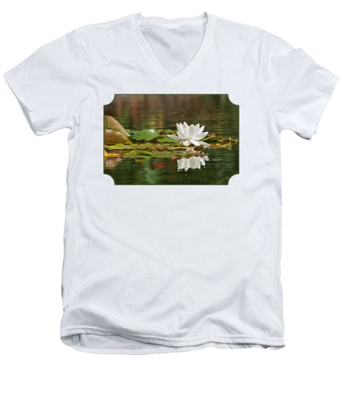 White Water Lily With Damselflies Men's V-Neck T-Shirt by Gill Billington