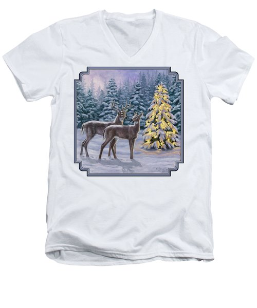 Whitetail Christmas Men's V-Neck T-Shirt by Crista Forest