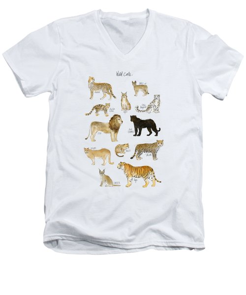 Wild Cats Men's V-Neck T-Shirt by Amy Hamilton