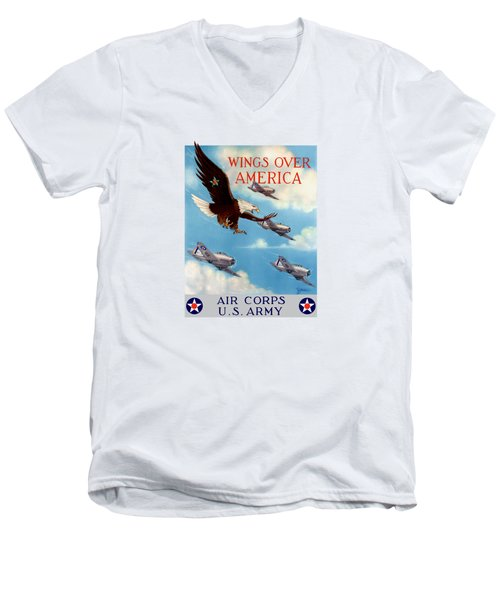 Wings Over America - Air Corps U.s. Army Men's V-Neck T-Shirt by War Is Hell Store