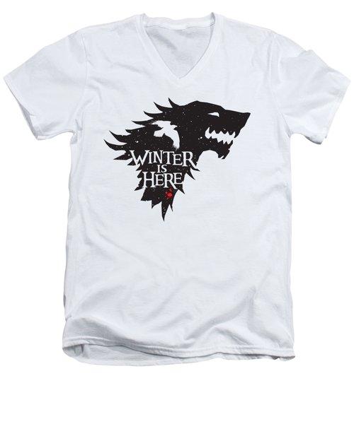 Winter Is Here Men's V-Neck T-Shirt by Edward Draganski
