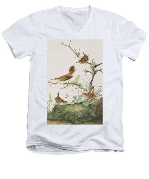 Winter Wren Or Rock Wren Men's V-Neck T-Shirt by John James Audubon