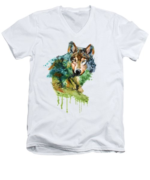 Wolf Face Watercolor Men's V-Neck T-Shirt by Marian Voicu