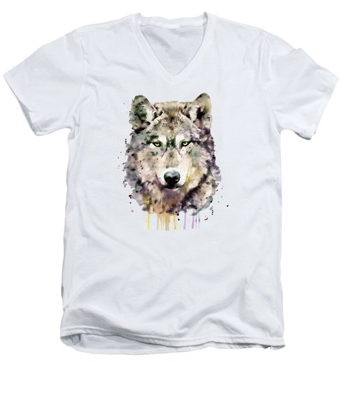 Wolf Head Men's V-Neck T-Shirt by Marian Voicu