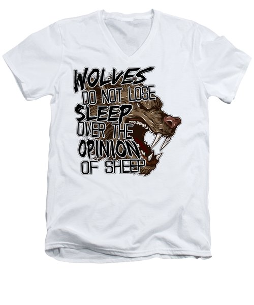 Wolves And Sheep Men's V-Neck T-Shirt by Michelle Murphy