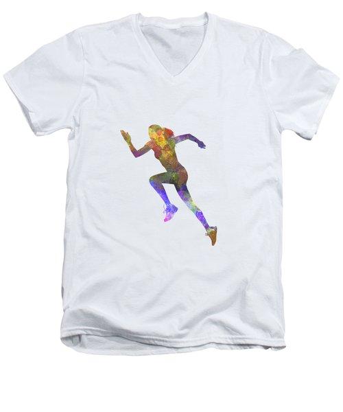 Woman Runner Running Jogger Jogging Silhouette 03 Men's V-Neck T-Shirt by Pablo Romero