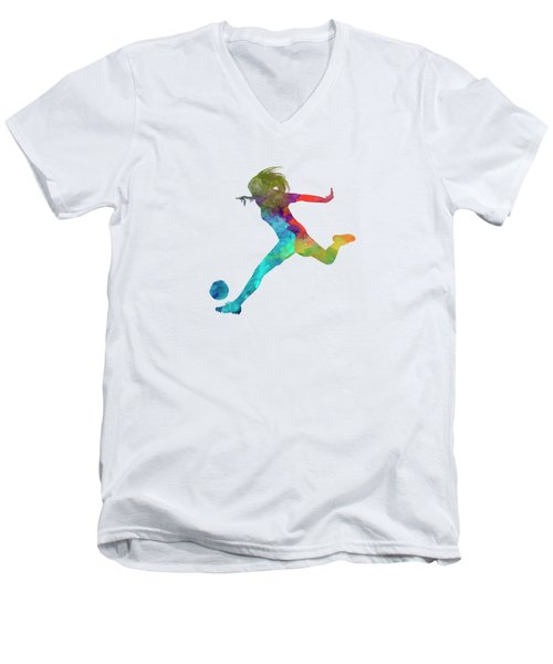 Woman Soccer Player 01 In Watercolor Men's V-Neck T-Shirt by Pablo Romero