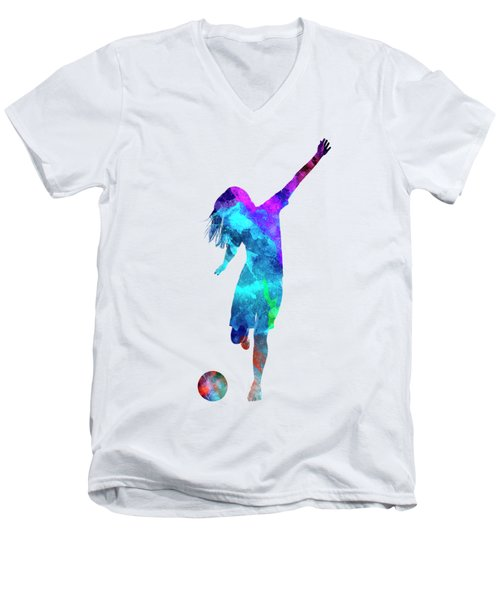Woman Soccer Player 05 In Watercolor Men's V-Neck T-Shirt by Pablo Romero