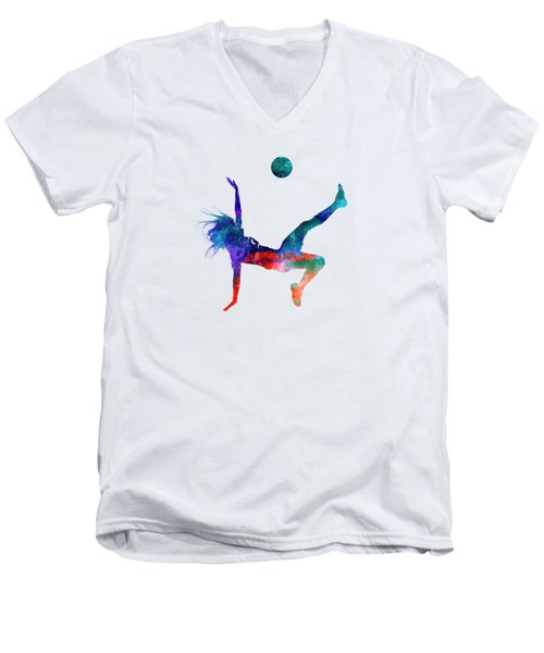 Woman Soccer Player 08 In Watercolor Men's V-Neck T-Shirt by Pablo Romero