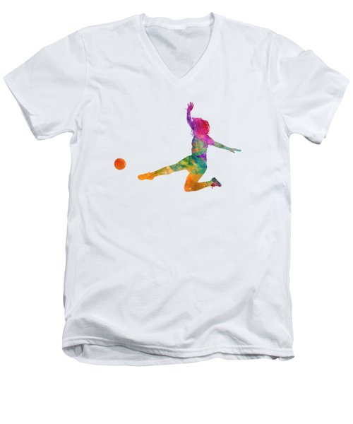 Woman Soccer Player 11 In Watercolor Men's V-Neck T-Shirt by Pablo Romero