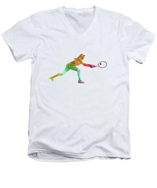Woman Tennis Player Sadness 02 In Watercolor Men's V-Neck T-Shirt by Pablo Romero