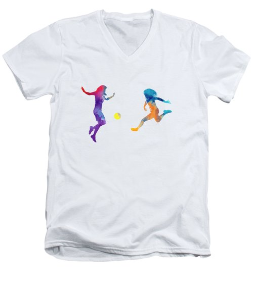 Women Soccer Players 01 In Watercolor Men's V-Neck T-Shirt by Pablo Romero