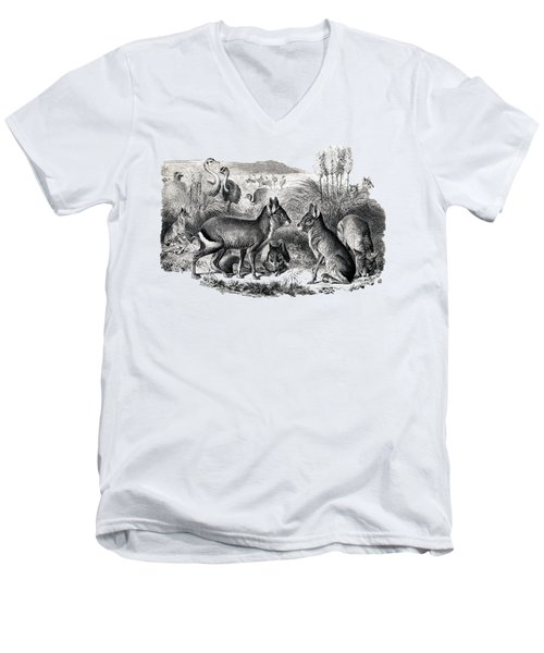 woodcut drawing of South American Maras Men's V-Neck T-Shirt by The one eyed Raven