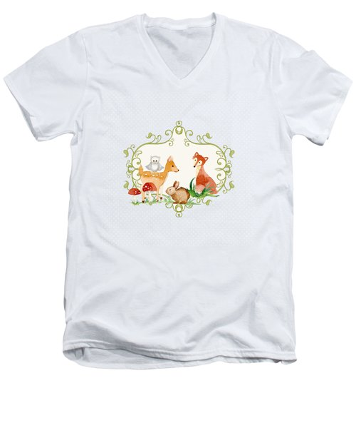 Woodland Fairytale - Animals Deer Owl Fox Bunny N Mushrooms Men's V-Neck T-Shirt by Audrey Jeanne Roberts