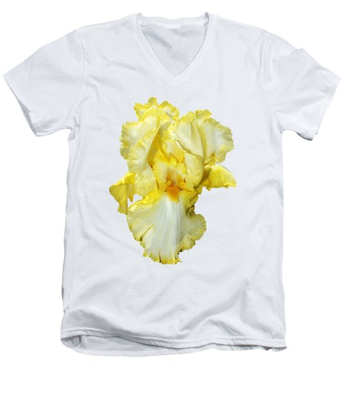 Yellow Mist Iris Men's V-Neck T-Shirt by Phyllis Denton