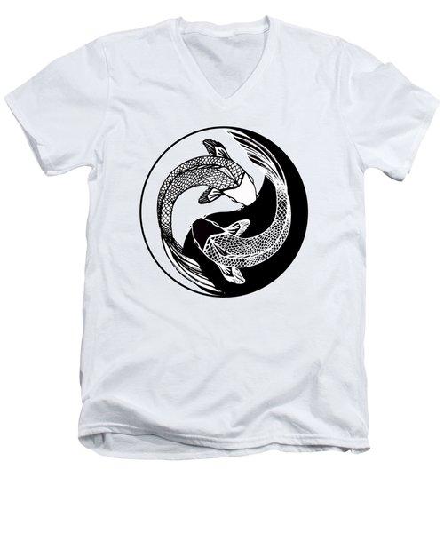 Yin Yang Fish Men's V-Neck T-Shirt by Stephen Humphries