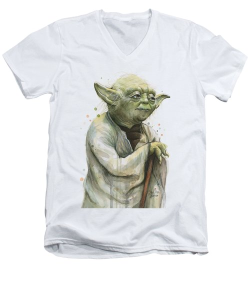 Yoda Portrait Men's V-Neck T-Shirt by Olga Shvartsur