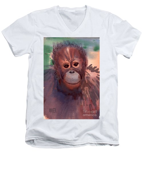 Young Orangutan Men's V-Neck T-Shirt by Donald Maier